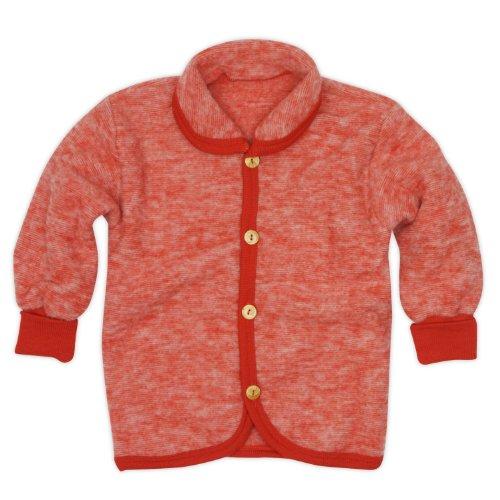 Cosilana Cosilana Baby Jäckchen mit Rundhals, Größe 62/68, Farbe Rot-Melange, Wollfleece 100% Schurwolle kbT