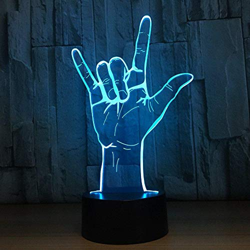 Sign Language I Love You 3D Night Light USB Acrylic 3D Table Lamp Operated Romantic Wedding Party Decor Best Gift