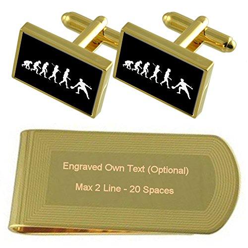 Select Gifts Evolución Ape Man Ping-Pong Tono Oro Gemelos Money Clip Grabado Set de Regalo