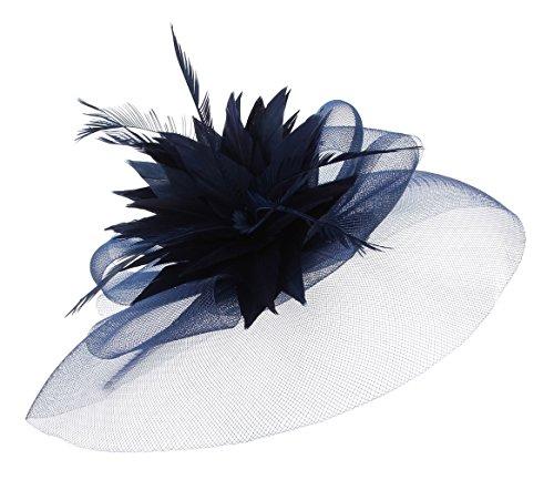 EOZY Mujer Tocado de Pelo para Boda Fiesta Sombrero Gasa Pluma Elegante Azul Oscuro