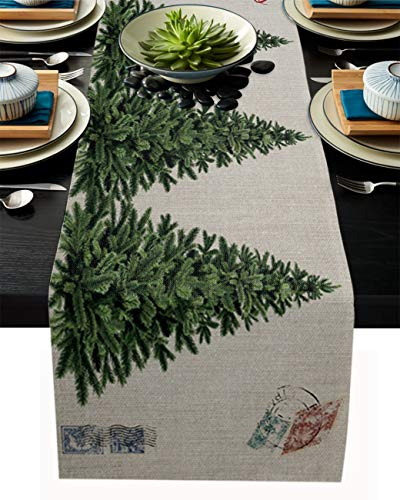 PIEPLE Merry Christmas Tree Cotton Linen Table Runner Baby-Shower, Vintage Postmark Rectangle Tabletop and Dresser Scarves for Wedding/Picnic/Banquet 13' x 70'