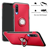 Labanema Xiaomi Mi 9 Funda, 360 Rotating Ring Grip Stand Holder Capa TPU + PC Shockproof Anti-rasguños teléfono Caso protección Cáscara Cover para Xiaomi Mi 9 - Rojo
