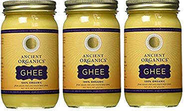 100% Organic Ghee from Grass-fed Cows, 16oz (Pack of 3)