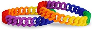2 Pack Gay Pride Rainbow Silicone Chain Link Bracelets - Support LGBTQ Cause (2 Bracelets in a Bag)