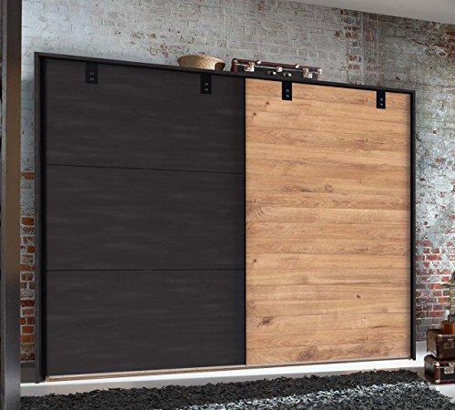 lifestyle4living Kleiderschrank in Plankeneiche-Dekor mit Absetzungen in Stahl-Optik, Schwebetüren-Schrank mit viel Stauraum im angesagten Industrial-Look, 250 cm