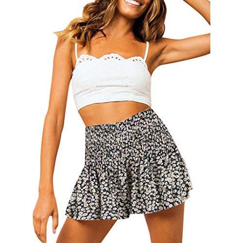 wyxhkj Mujer Pantalón Corto, Pantalones Cortos Impresión Volantes Cintura Elásticos Cintura Alta Sueltos Casual para Jovenes Chicas Verano (M)