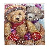 72Wx72H Zoll Winter Schnee Teddybär Puppe Duschvorhang Polyester Wasserdicht Fuzzy Bear Ski Schneemann Schneeflocken Bad Duschvorhang Set mit Haken