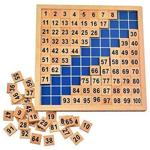 Amasawa Mathematik Puzzle Holz Digital Board,1-100 Kontinuierliche Zahlen,Mathe Puzzle Holzspielzeug, um Ihrem Kind zu helfen, motorische Fähigkeiten früh zu entwickeln