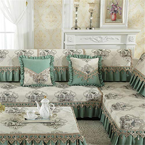 chenhe Slipcovers Furniture Protector,jacquard Sofa Cover Warm Slip Resistant Slipcover Seat Couch Cover Lace Edge Sofa Towel Furniture covers-green_40*70cm armrest