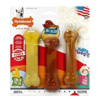 Made with a tough, durable nylon these toys were made with powerful chewers in mind, triple pack for value Challenges aggressive chewers, extra durable, long lasting, flavour throughout Tiny bristles raise on the bone during chewing, like a mini toot...