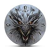 xinxin Relojes de Pared Dragón Arte de Pared Paisaje de fantasía Reloj de Pared Moderno Mitología Monstruo Cabeza de dragón Reloj silencioso Reloj de Pared Arte del hogar Decoración Interior