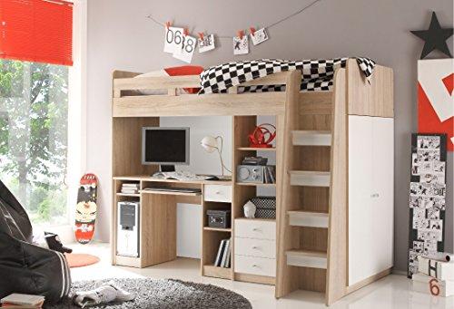 moebel-guenstig24.de Hochbett Unit Jugendbett Kinderbett Bett mit Stufen integriertem Schreibtisch in Eiche Sonoma Wei�
