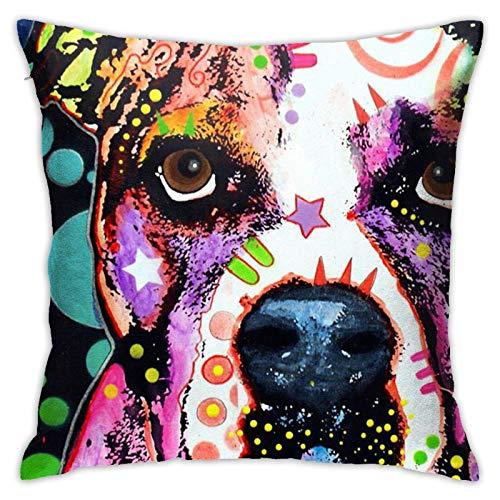 QUEMIN Fundas de almohada coloridas bulldog americano, cojín para decoración del hogar para sofá, cama, coche, 45,7 x 45,7 cm