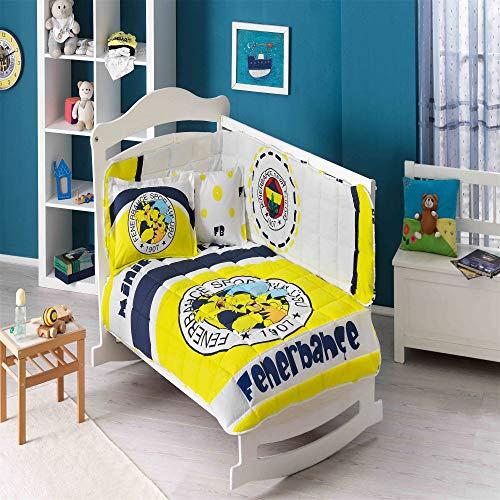 TAÇ Fenerbahçe Minik Canarien-Baby-Bettwäsche-Set für Einzelbett, 95 x 145 cm, Spannbettlaken: 80 x 140 cm, Kissenbezug: 35 x 45 cm (2 Teile), Kantenschutz: 45 x 210 cm, Bettlaken: 80 x 140 cm