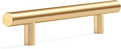 10pcs Solid Bright Gold Aluminum Alloy European Style Bar Tube Pulls Kitchen Cabinet Door Hanldes Drawer Knobs Golden Hole Spacing 96mm 3.75in