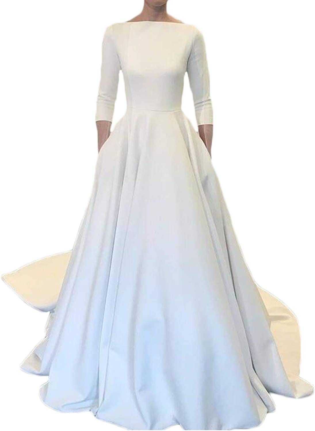 Alilith.Z Elegant Boat Neck Satin Wedding Dresses for Bride 2019 Long Train 3 4 Sleeves Wedding Gowns for Women with Pockets