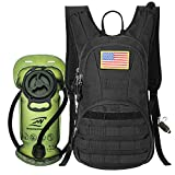 SHARKmOUTH Hydration Pack, Tactical Molle Hydration Pack Backpack 900D with 2L BPA Free Hydration Water Bladder, Military Daypack for Running, Hiking, Cycling, Climbing, Hunting &Working Out, Black