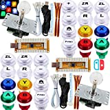 SJ@JX Arcade Game LED Controller Lamp USB Encoder 2 Player Gamepad Cherry MX Microswitch Light Button 8way LED Joystick for Nintendo Switch PC PS3 Retropie Raspberry Pi MAME