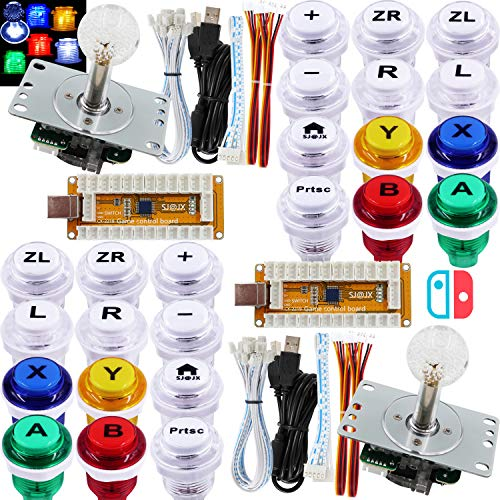 SJ@JX Arcade Game LED Controller Lamp USB Encoder 2 Player Gamepad Cherry MX Microswitch Light...