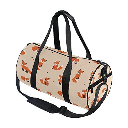 Use4 Cartoon Fox Polka Dot Travel Duffel Bag Sport Gym Luggage Bag for Men Women