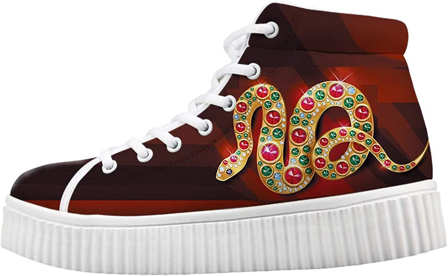 Owaheson Platform Lace up Sneaker Casual Chunky Walking shoes Women Bling Tribe Mysterious gold Gem Snake