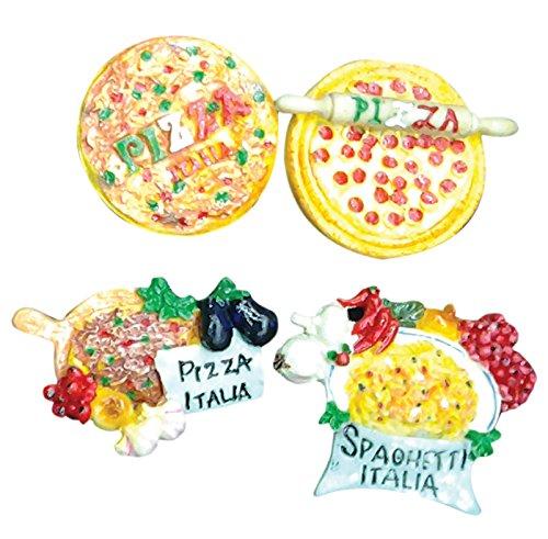Magnete/calamita'Pizza', da collezione, set da 4 pezzi assortiti, in resina, cm 6x5