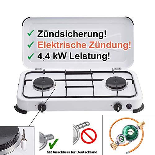 CAGO Gaskocher Camping-Kocher 2 flammig mit elektrischer Zündung und Zündsicherung, inkl. Gasschlauch mit Manometer Gas-Füllstandsanzeige und Schlauchbruchsicherung 3 4