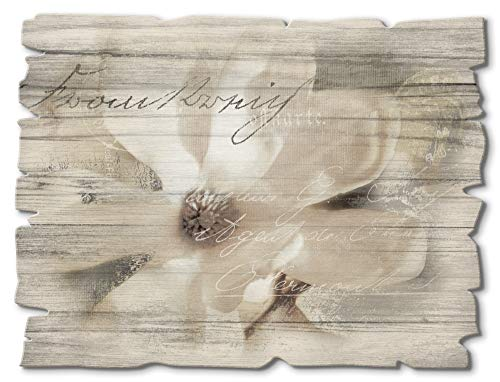Artland Wandbild aus Holz Shabby Chic Holzbild rechteckig 40x30 cm Querformat Blumen Magnolie Botanik Schriftzug Landhausstil T4RT