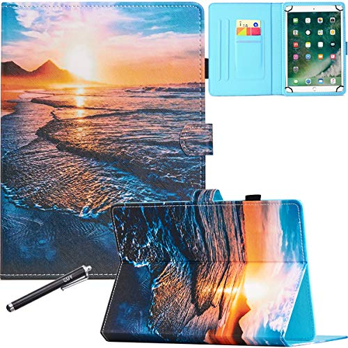 10 Inch Universal Case, GSFY Pretty Folio Stand Protective Case Leather Pocket Cover for Apple/Samsung/Kindle/Huawei/Lenovo/Android/Dragon Touch 9.6 9.7 10 10.1 10.5 Inch Tablet - Beach Tide