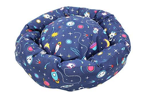 Cama Redonda para Perros, Gatos, Mascotas, Cama Reversible Extra Suave y Cómoda, Sofá Donut Resistente y Lavable (Diámetro: 55cm, Espacial)