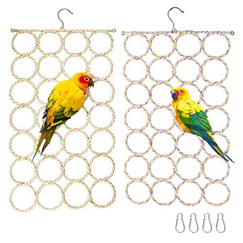 2 Stück Vögel Sitzstangen (28 Ringe), Vogel Schaukel mit Spielringe Kletterringe Papageien Vogelständer Spielplatz Gefaltet Vogelspielzeug für Wellensittich Papageien Nymphensittich