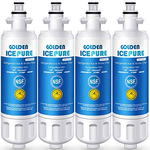 Golden Icepure LT700P Refrigerator Water Filter Replacement for LG LT700P, ADQ36006101, KENMORE 469690 (4-Pack)