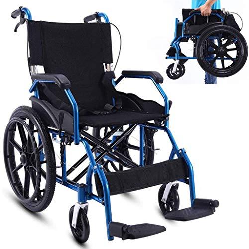 SUNBJ Selbstfahr Rollstühle, faltbar manuellen Rollstuhl mit Dual Bremsen Non-Luftreifen Adjustable Fußpedal Tretroller for Behinderte/Ältere