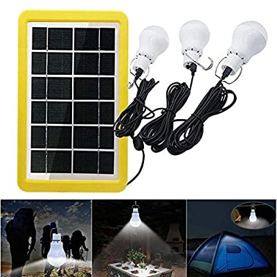 SZYOUMY Solar Portable Smart Light Control Bulb Solar Panel Lamp USB Powered Rechargeable Lantern Lamps for Home Shed Barn Indoor Outdoor Emergency Hiking Tent Reading Camping