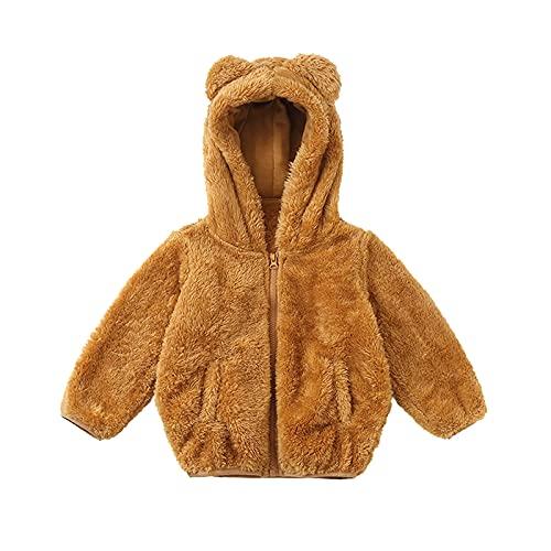 Infant Baby Boys Girls Fleece Jacket with Lined Cute Ears Hooded Zipper Up Jacket Coat Tops Outwear Warm Thick Overcoat