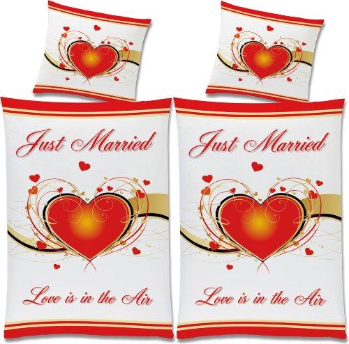 RAHMENLOS Hochzeit Bettwäsche Doppelpack Just Married