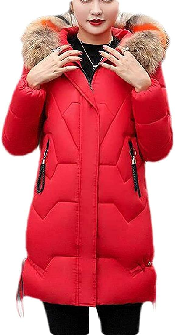 Women Winter Mid Length Quilted Faux Fur Hooded Parka Down Coat Puffer Jacket Outwear