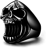 Skull Rings for Men Gothic Biker Punk Black Surgical Stainless Steel Mens Ring Beer Bottle Opener Father Dad Son Boyfriend Husband Hip Hop Jewelry Birthday Christmas Gifts Halloween Size 15