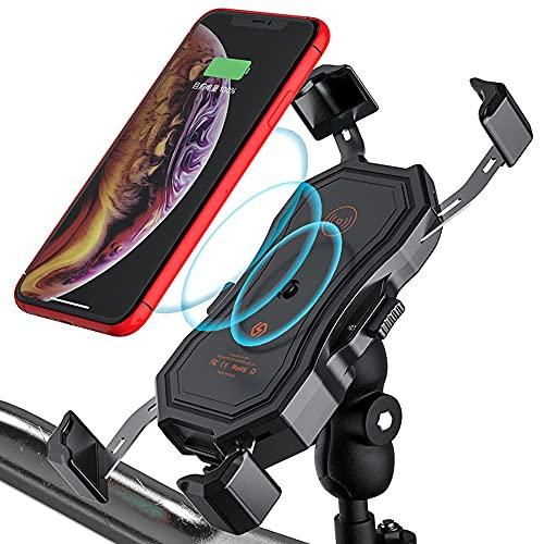 GOURIXIN Cargador inalámbrico para Motocicleta Qi/USB Cargador rápido 3.0 Soporte para teléfono 2 en 1, rotación 360 Impermeable con Interruptor para teléfonos celulares de 4.7-6.5 Pulgadas