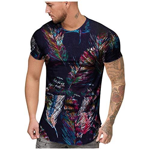 BURFLY Herren Mode Sommer Lässige Dünne Afrikanische Print Oansatz Fit Kurzarm T-Shirt Top Männer Oberteil Bluse
