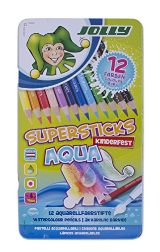Jolly Supersticks Premium European Aqua Watercolor Pencils with Tin Carrying Case; Set of 12
