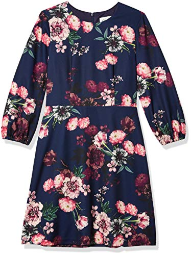 Eliza J Women's Floral Printed FIT and Flare Dress, Navy, 10