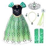 JerrisApparel Niña Princesa Anna Disfraz Fiesta de Cosplay Vestido (6 años, Verde con Accesorios)
