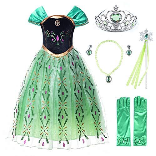 JerrisApparel Prinzessin Kostüm Karneval Verkleidung Party Kleid (120, Grün Anna mit Zubehör)