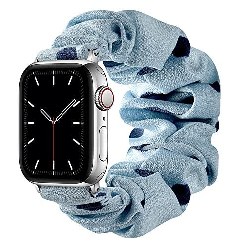 AdirMi Compatible con Apple Watch Series SE 6 5 4 3 2 1 Bandas, Correa Scrunchie Correa de Reloj Elástica para Mujeres Correa de Pulsera de Tela Estampada para iWatch 38/40mm 42/44mm,A,38/40mm(S)