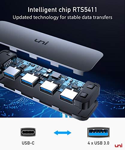 uni USB C Hub mit 4-Port USB 3.0, Ultra Slim Data Hub, kompatibel mit MacBook Pro, iPad Pro, MacBook Air, Dell XPS, Surface Book und mehr