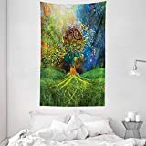 ABAKUHAUS Ethnisch Wandteppich und Tagesdecke Mutter Erde Zen Themeaus Weiches Mikrofaser Stoff 140 x 230 cm Klare Farben Grün-blauen