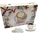 "C&T Kaffee Adventskalender 2021 ""Klassik II"" (Gold, Kaffeepads) | 24 Senseo kompatible Pads aus aller Welt | Weihnachts-Kalender mit kostenloser Infobroschüre"