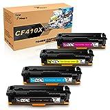 7Magic HP 410A HP 410X CF410X CF410A CF411X CF412X CF413X tóner Compatible para HP 410A 410X Compatible para HP Color Laserjet Pro MFP M477FDW M477FDN M377DW M477FNW M452DN M452DW (Paquete de 4)