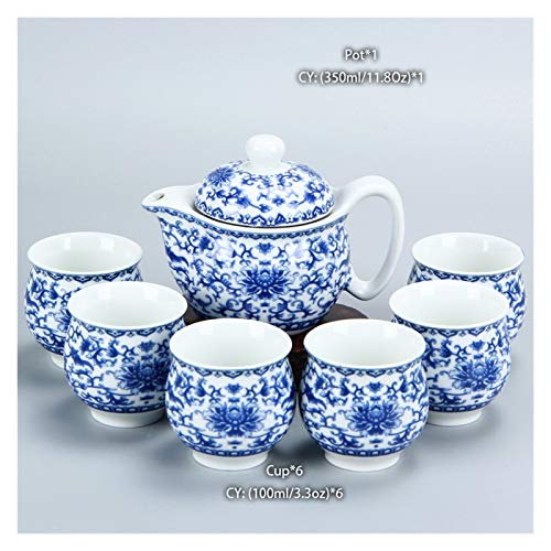 Tea Set Chinese Ceramic Tea Set Kung Fu Porcelain Tea Cup Pot Set Dragon Teapot Tea Cup Kungfu Oolong Tea Ceremony Tea Set Tea Gift Sets (Color : E)